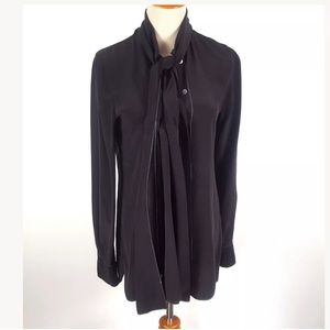 ADAM LIPPES BLACK BLOUSE PUSSY BOW